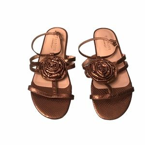 Talbots Bronze Strappy Flower Sandals 7.5